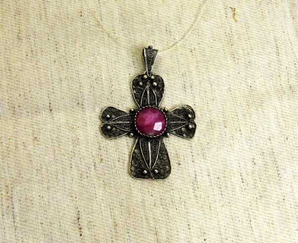 Pendent 'Cross' with Macedonian Ruby, silver  filigree