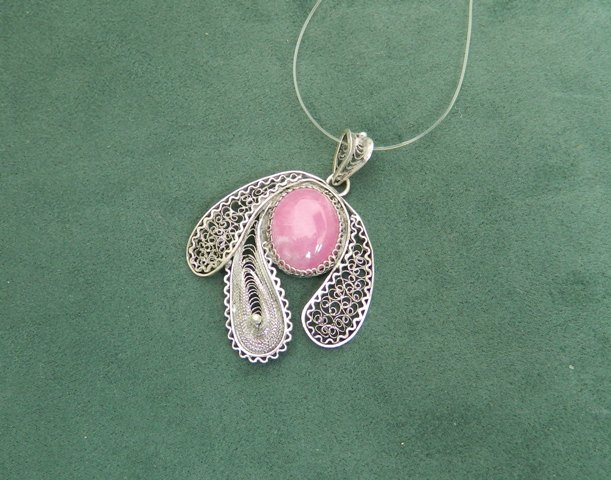 Pendent with Macedonian Ruby, silver  filigree