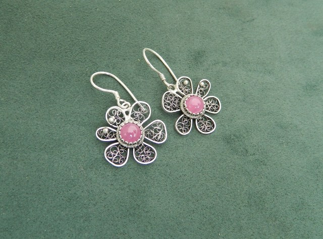 Earrings 'Flower' with Macedonian Ruby, silver  filigree